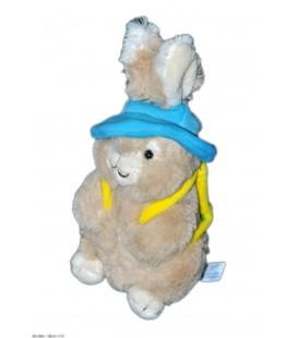 Doudou peluche Paques Lapin beige chapeau bleu 22 cm Gipsy