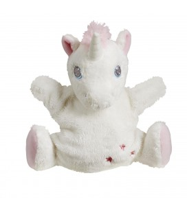 Doudou Marionnette Licorne Tex Baby blanche etoiles rose