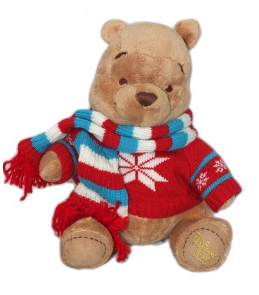 Peluche doudou Winnie l'Ourson The Pooh Plush 30 cm Pull echarpe Disney Store 2008