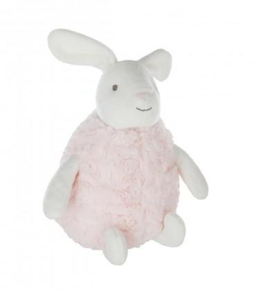 Doudou peluche lapin blanc rose Athmosphera JJA 30 cm