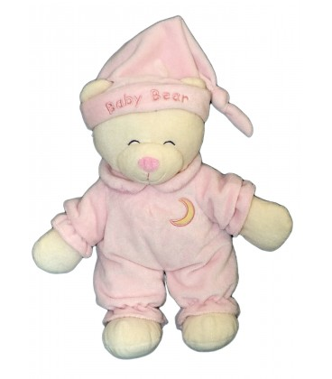 Doudou peluche ours rose GIPSY Baby Bear Lune 30 cm