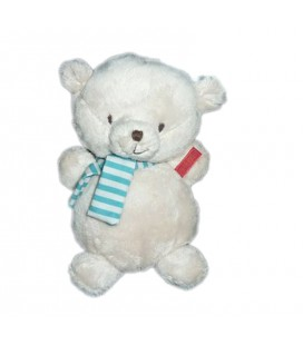 Peluche ours Theo Orchestra beige echarpe bleue rayee 22 cm