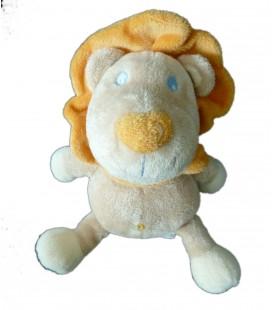 Peluche doudou Lion beige orange Kimbaloo 25 cm dessous pattes bleu