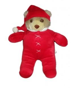 Peluche Ours pyjama rouge dormeur OUTIROR Idem Damart Perfectel 35 cm
