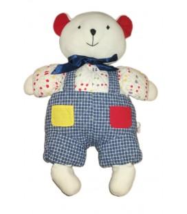 Peluche doudou range Pyjama Ours blanc salopette bleue Sucre d Orge noeud bleu 45 cm