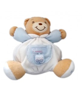 Doudou ours Kaloo blanc bleu voiture 16 cm
