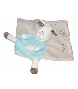 Doudou plat Mouton Agneau gris bleu KIMBALOO