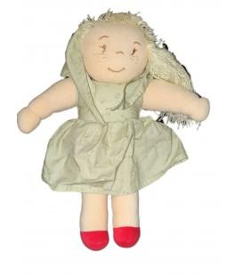 Doudou poupee blonde tissu chiffon robe verte blonde foulard chaussons rouges 35 cm