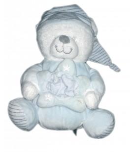 Peluche doudou ours bleu Max & Sax 20 cm Etoile - Vendu sans veilleuse