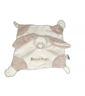 Doudou plat lapin blanc gris beige by Made4baby VACO