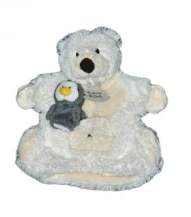Doudou Marionnette Ours blanc beige bebe Pingouin Histoire d Ours