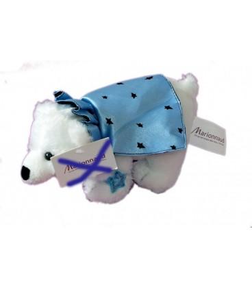 Doudou peluche Thierry Mugler MARIONNAUD - Ours Blanc cape Bleue satinée L 22 cm
