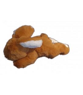 Peluche doudou lapin allonge marron blanc 25 cm Nicotoy 584/1935 longs poils