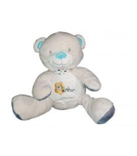 Peluche doudou ours gris beige bleu Arthur et Lola assis 18 cm