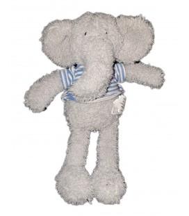 Peluche doudou Elephant gris T shirt raye blanc bleu Jelly Kitten Jellycat 20 cm