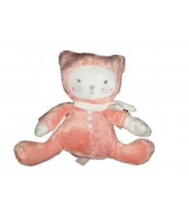 Doudou chat rose blanc Tex Baby Carrefour assis 18 cm
