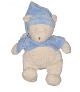 Peluche doudou ours blanc bleu Ajena Nounours 30 cm Bonnet