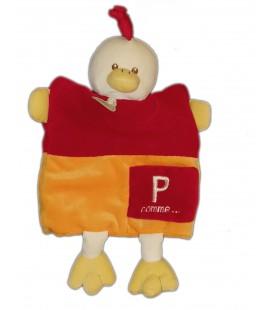 Doudou Marionnette Alphabet P comme Poule rouge orange Baby Nat