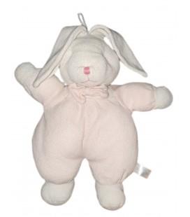 Ancien doudou lapin blanc rose Gipsy matiere eponge 35 cm