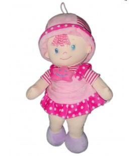 Poupee rose Etoile chapeau Robe rayures pois 35 cm 69256 2053688