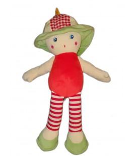 Doudou poupee Que du Bonheur rouge vert chapeau 32 cm