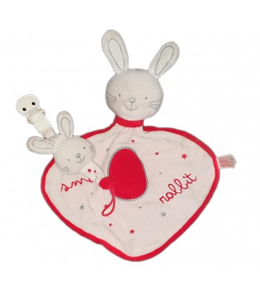 Doudou plat mouchoir Lapin Smile Rabbit + attache tetine grelot Jemini