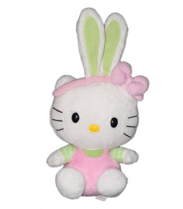 Doudou Hello Kitty deguise Lapin rose vert 22 cm TY