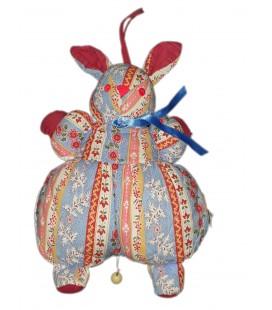 Vintage ancien Doudou musical Lapin tissu chiffon fleuri Sucre d orge 28 cm