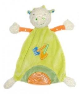 Doudou plat chèvre Mouton Vert orange BaBYSUN Baby Sun - Pelle ra¢teau