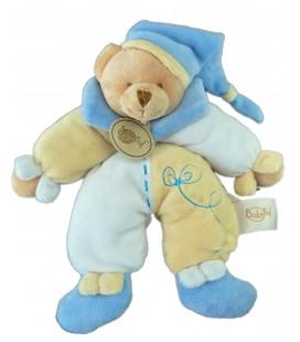 Doudou Ours bleu jaune beige Baby Nat 22 cm