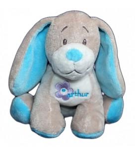 Doudou peluche chien gris bleu Bebisol Arthur et Lola 18 cm