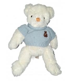 Peluche doudou Ours blanc pull bleu 30 cm Histoire d Ours