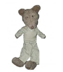 Peluche ours Loup Souris rat gris salopette Louise Mansen 42 cm