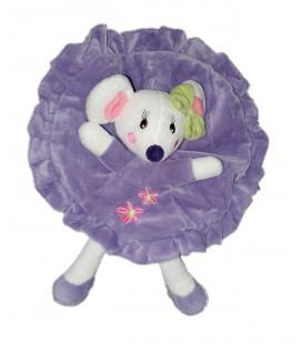 Doudou plat rond souris mauve violet fleurs noeud vert Nicotoy