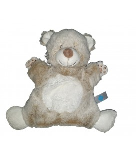Doudou marionnette ours blanc marron chine Tex Baby Carrefour
