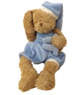 Peluche ours beige dormeur pyjama bleu Louise Mansen 35 cm
