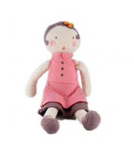 Doudou poupée rose mauve parme robe Marese 28 cm