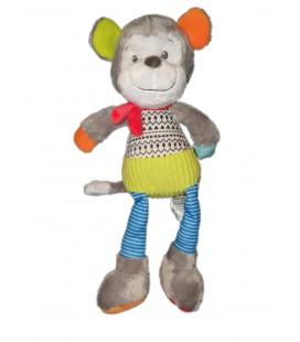 Peluche doudou singe gris vert bleu Mots d Enfants 32 cm