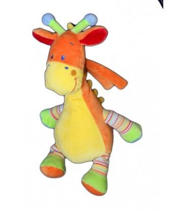 Doudou girafe MOTS D'ENFANTS Peluche orange 32 cm