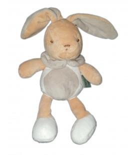 Doudou Lapin blanc gris beige Mes Petits Cailloux CMP 26 cm