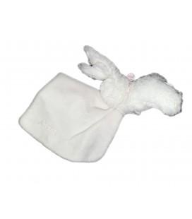 Doudou lapin blanc rose rayures Mouchoir Jacadi
