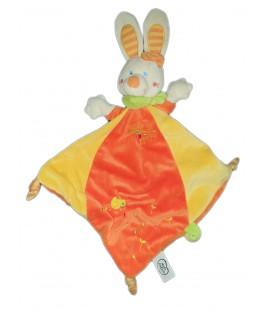Doudou Lapin plat Losange Jaune orange Mots d Enfants Leclerc Poussin 579/1552