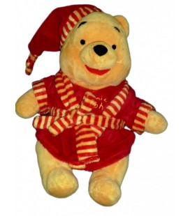 Peluche doudou Winnie Disney Nicotoy Peignoir robe de chambre rouge 30 cm