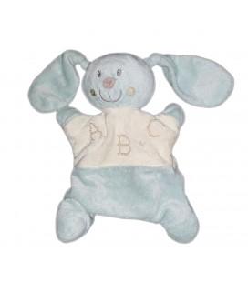 Doudou marionnette lapin bleu blanc ABC Pommette