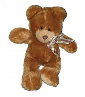 Peluche ours marron noeud carreaux 30 cm Althans Club