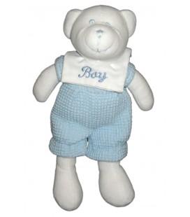 Doudou ours blanc bleu salopette Playkids 26 cm