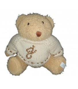 Peluche ours beige Pull laine blanc Jacadi 26 cm