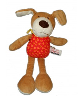 Peluche doudou Chien marron rouge spirales foulard jaune SIGIKID 28 cm