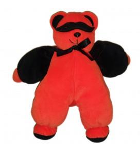 Doudou Ours orange noir masque noeud Gipsy 24 cm