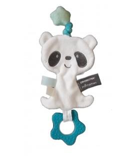 Doudou plat Panda blanc bleu Orchestra Premaman anneau dentition